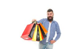 Consumer protection concept. Man happy consumer hold shopping bags. Buy and sell. Consumer protection laws ensure rights. Fair trade competition and accurate stock photo