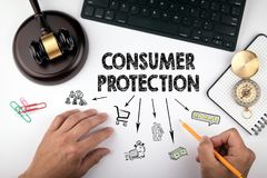Consumer protection, Law and justice concept. Chart with icons. Judge hummer and compass on the desk for setting order right direction royalty free stock photos