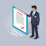 Consumer Rights and Businessman Illustration. Consumer rights representation. Businessman stands and points on document with consumer rights  on grey background Royalty Free Stock Image