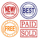 Consumer rubber stamps. Rubber stamps of new arrival, best, free, paid and sold Stock Photos