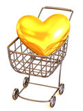 Consumer's basket with Heart Royalty Free Stock Photos