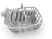 Consumer's basket with percent stock image