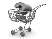 Consumer's basket with question Royalty Free Stock Photos