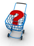 Consumer's basket with question. Royalty Free Stock Image
