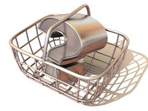 Consumer's basket with question Stock Photos