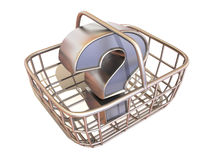Consumer's basket with question Royalty Free Stock Image