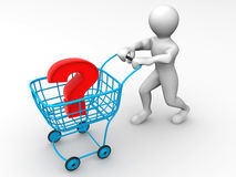 Consumer's basket with question Royalty Free Stock Images