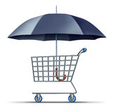 Consumer Security And Protection. With a shopping cart being protected and shielded by an umbrella as a business concept for buyer and credit  card insurance Royalty Free Stock Image