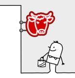 Consumer & shop sign - butcher. Hand drawn cartoon characters - consumer & shop sign - butcher royalty free illustration