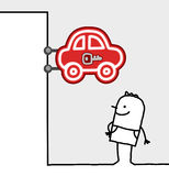 Consumer & shop sign - cars. Hand drawn cartoon characters - consumer & shop sign - cars royalty free illustration