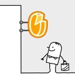 Consumer & shop sign - cheese. Hand drawn cartoon characters - consumer & shop sign - cheese vector illustration