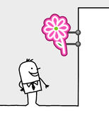 Consumer & shop sign - flowers. Hand drawn cartoon characters - consumer & shop sign - flowers vector illustration