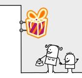 Consumer & shop sign - gifts. Hand drawn cartoon characters - consumer & shop sign - gifts royalty free illustration