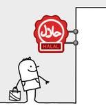 Consumer & shop sign - halal. Hand drawn cartoon characters - consumer & shop sign - halal royalty free illustration