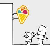Consumer & shop sign - ice cream. Hand drawn cartoon characters - consumer & shop sign - ice cream vector illustration