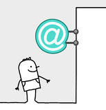 Consumer & shop sign - internet. Hand drawn cartoon characters - consumer & shop sign - internet vector illustration