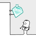 Consumer & shop sign - jewels. Hand drawn cartoon characters - consumer & shop sign - jewels royalty free illustration