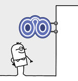 Consumer & shop sign - optician. Hand drawn cartoon characters - consumer & shop sign - optician royalty free illustration