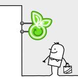 Consumer & shop sign - organic food. Hand drawn cartoon characters - consumer & shop sign - organic food royalty free illustration