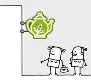 Consumer & shop sign - tearoom. Hand drawn cartoon characters - consumer & shop sign - tearoom Stock Image
