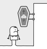Consumer & shop sign - undertaker. Hand drawn cartoon characters - consumer & shop sign - undertaker stock illustration