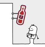 Consumer & shop sign - wine. Hand drawn cartoon characters - consumer & shop sign - wine royalty free illustration