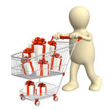 Consumer with shopping cart and gifts Stock Photos