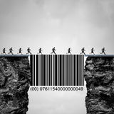 Consumer Solution. And client or customer service concept as people crossing two cliff with the help of a bridge shaped as a commercial bar code helping vector illustration