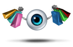 Consumer Trends. And shopping research and fashion trends follower concept as a human eyeball character holding shop bags as a retail buying symbol for customer royalty free illustration