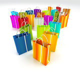 Consumerism. 3D rendering of a large group of different colourful shopping bags Royalty Free Stock Photos