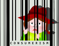 Consumerism addiction. Shopping spree, captivated woman behind barcode Royalty Free Stock Images