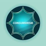 Consumerism magical glassy sunburst blue button sky blue background. Consumerism Isolated on magical glassy sunburst blue button sky blue background vector illustration