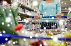 Customer with food in shopping cart at supermarket Royalty Free Stock Images