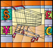 Consumerism. Stained glass of supermarket trolley and money symbols Stock Image