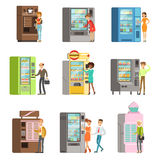 Consumers standing near vending machine and going to buy a drinks and food. Set of colorful cartoon detailed vector Stock Image