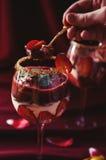 Consumición de la bagatela de las fresas, del chocolate y del mascarpone Fotografía de archivo