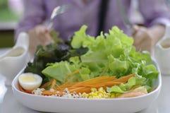 Consumición de la ensalada, comida sana Fotos de archivo libres de regalías