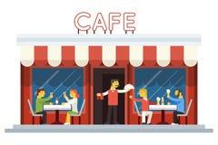 Consumición de la gente del cliente de la fachada del edificio del café Fotografía de archivo libre de regalías