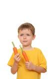 Consumición de la zanahoria Imagen de archivo libre de regalías