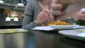 Consumición de las patatas fritas y de las albóndigas suecas tradicionales metrajes