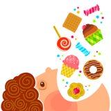Consumición de los dulces stock de ilustración
