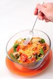 Consumición de un tazón de fuente sano de ensalada con una fork Fotos de archivo libres de regalías