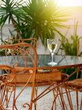 Consumición de un vidrio de vino blanco en la tabla oxidada del metal del estilo retro fotografía de archivo