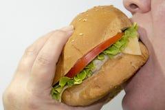 Consumición de una hamburguesa sabrosa imagen de archivo libre de regalías