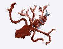 Consumición del calamar gigante Fotos de archivo libres de regalías