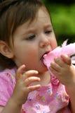 Consumición del caramelo de algodón Fotografía de archivo
