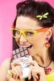 Consumición del chocolate Fotografía de archivo libre de regalías