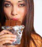Consumición del chocolate Foto de archivo
