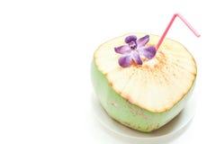Consumición del coco y orquídea azul Foto de archivo libre de regalías