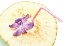 Consumición del coco y orquídea azul Fotos de archivo